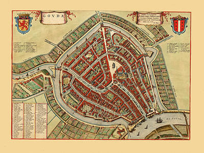 Photograph - Map Of Gouda 1650 by Andrew Fare