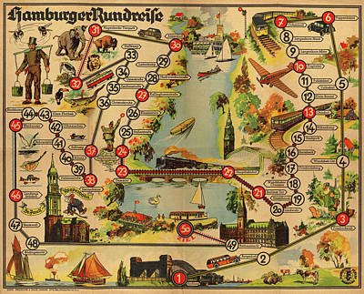 Photograph - Map Of Hamburg 1947 by Andrew Fare