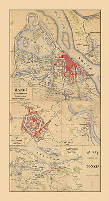 Photograph - Map Of Hanoi 1895 by Andrew Fare