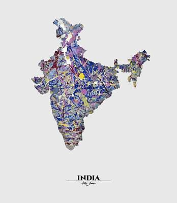 Mixed Media - Map Of India, Drip Art, Artist Singh by Artist SinGh