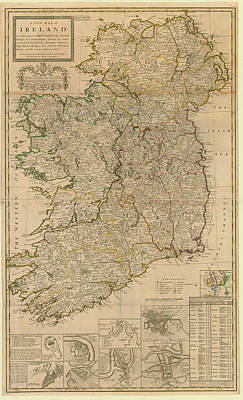 Digital Art - Map Of Ireland From 1714 by Historic Map Works Llc