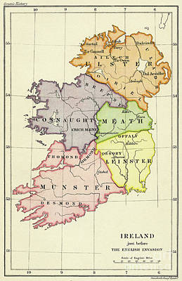Drawing - Map Of Ireland Just Before English Invasion In 1588 by Irish School