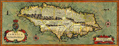 Photograph - Map Of Jamaica 1676 by Andrew Fare