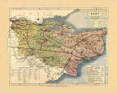 Photograph - Map Of Kent 1884 by Andrew Fare