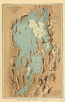 Photograph - Map Of Lake Bonneville 1900 by Andrew Fare