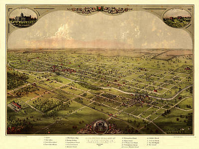 Photograph - Map Of Lansing 1866 by Andrew Fare