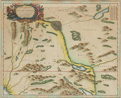 Target Threshold Watercolor - Map Of Lapland 1790 by Andrew Fare