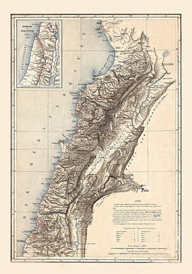 Photograph - Map Of Lebanon 1864 by Andrew Fare