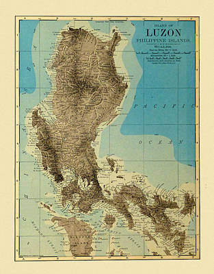 Photograph - Map Of Luzon 1890 by Andrew Fare