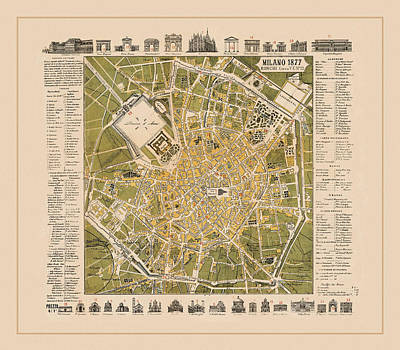 Photograph - Map Of Milan 1877 by Andrew Fare