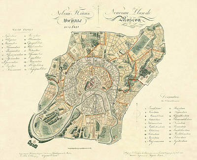 Mellow Yellow - Map Of Moscow 1824 by Andrew Fare