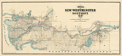 Photograph - Map Of New Westminster 1876 by Andrew Fare
