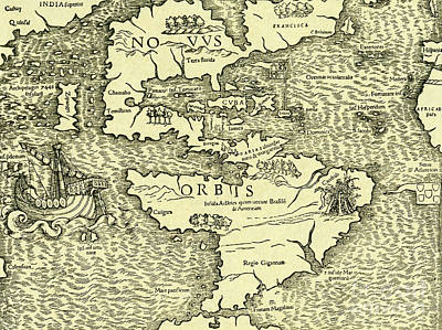 Drawing - Map Of New World From Geographia Universalis Vetus Et Nova Complectens by Ptolemy
