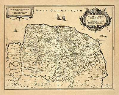 Photograph - Map Of Norfolk 1685 by Andrew Fare
