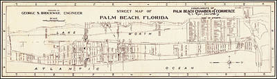 Photograph - Map Of Palm Beach, Florida 1942 by Andrew Fare