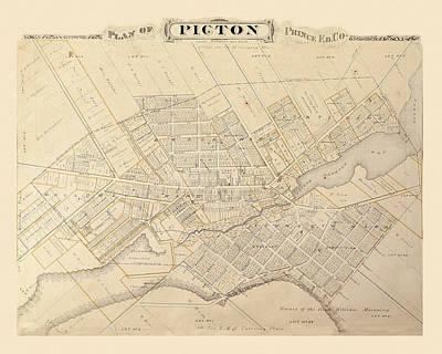 Photograph - Map Of Picton 1878 by Andrew Fare