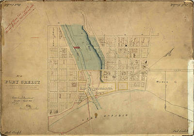 Photograph - Map Of Port Credit 1850 by Andrew Fare