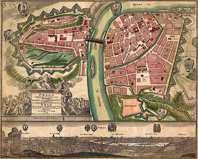 Photograph - Map Of Prague 1720 by Andrew Fare