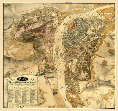 Photograph - Map Of Prague 1816 by Andrew Fare