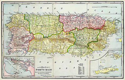 Photograph -  Map Of Puerto Rico 1895 by Phil Cardamone