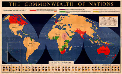 Photograph - Map Of The British Commonwealth 1950 by Andrew Fare