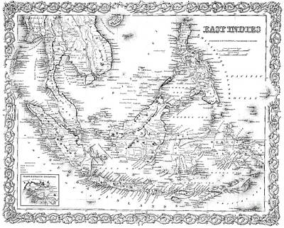 Drawing - Map Of The East Indies  Engraving by American School