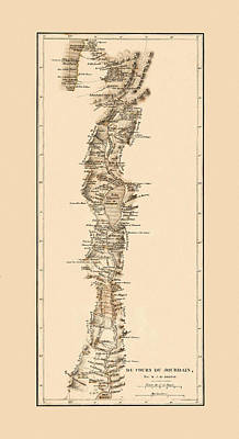 Photograph - Map Of The Jordan River 1839 by Andrew Fare