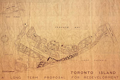 Photograph - Map Of Toronto Islands 1947 by Andrew Fare
