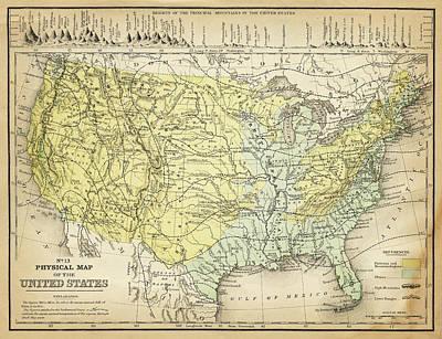 Map Of Usa 1867 Art Print