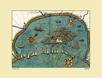 Photograph - Map Of Venice 1521 by Andrew Fare