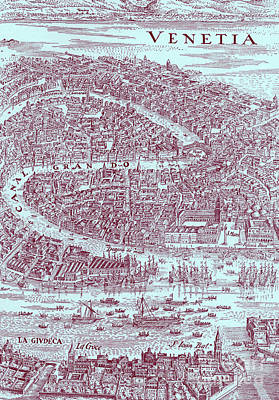 Drawing - Map Of Venice 1640 by European School