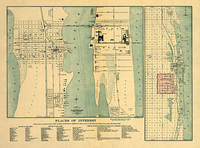 Photograph - Map Of West Palm Beach 1907 by Andrew Fare