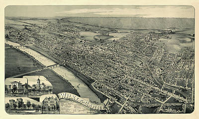 Photograph - Map Of Wilkes Barre 1889 by Andrew Fare