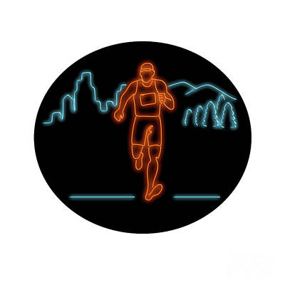Sports Royalty-Free and Rights-Managed Images - Marathon Runner Running Oval Neon Sign by Aloysius Patrimonio