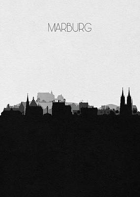 Skyline Drawing - Marburg Cityscape Art by Inspirowl Design