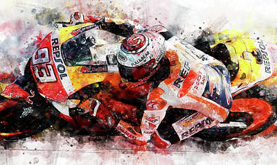 Painting - Marc Marquez - 01 by Andrea Mazzocchetti