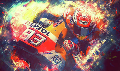 Painting - Marc Marquez - 04 by Andrea Mazzocchetti
