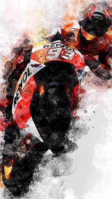 Painting - Marc Marquez - 05 by Andrea Mazzocchetti