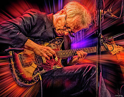 Jazz Mixed Media Royalty Free Images - Marc Ribot Royalty-Free Image by Mal Bray
