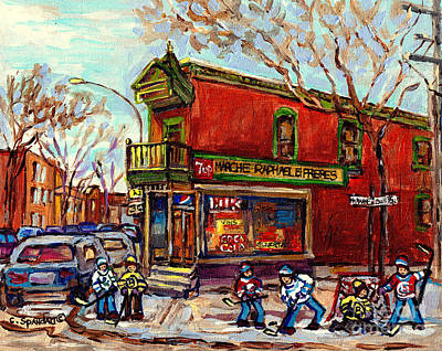 Painting - Marche Raphael Little Corner Store Mile End Hockey Art Debullion Brick Duplex C Spandau Street Scene by Carole Spandau