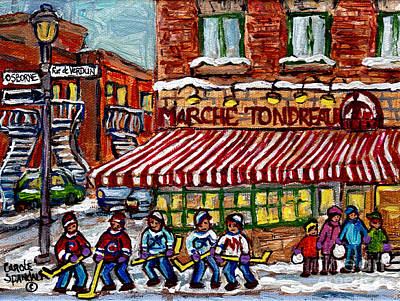 Painting - Marche Tondreau Rue De Verdun And Osborne Winter Scene Painting Montreal Hockey Art C Spandau Artist by Carole Spandau