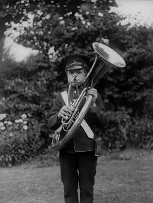 Sousaphone Wall Art - Photograph - Marching Boy by Fox Photos