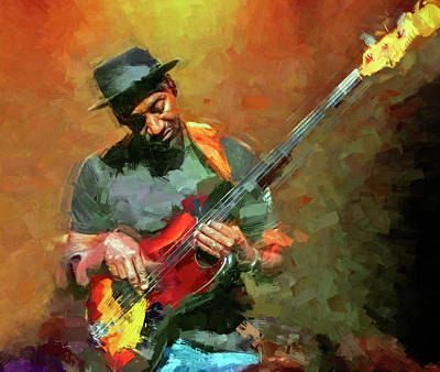 Jazz Mixed Media Royalty Free Images - Marcus Miller Musician Royalty-Free Image by Mal Bray
