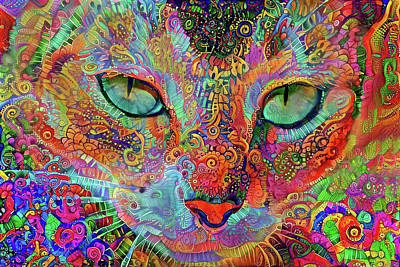 Digital Art - Mardi Gras Cat by Peggy Collins