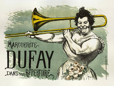 Painting - Marguerite Dufay Vintage French Advertising Trombone Player by Vintage French Advertising
