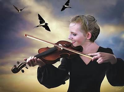 Digital Art - Mariah and the Swallows by Jann Paxton