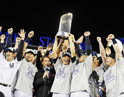Photograph - Mariano Rivera Holds Trophy As New York by New York Daily News Archive