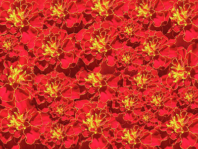 Photograph - Marigold French Brocade Collage by Johanna Hurmerinta