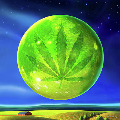 Digital Art - Marijuana Moon  by Robin Moline