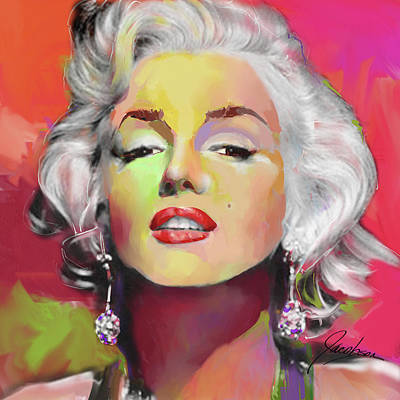 Painting - Marilyn Monroe 5 Red by Jackie Jacobson